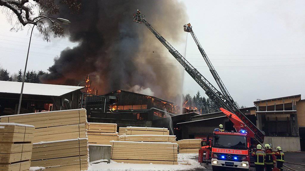 Dunkler Rauch steigt über einem Holzverarbeitungsbetrieb bei Küssnacht auf, der am Nachmittag in Brand geraten war.