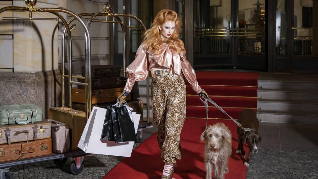 Hunde, Einkaufstüten und dazu noch Rollschuhe