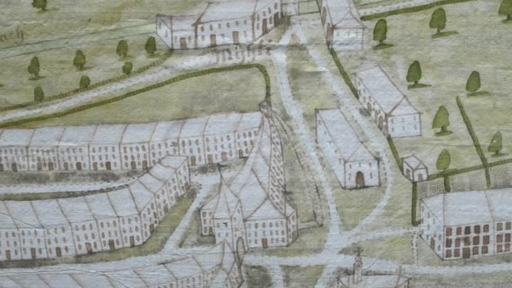 """Auf dem """"Stadtprospekt"""" von Johann Ludwig Erb aus dem Jahre 1746 findet sich die bisher einzige bekannte bildliche Darstellung der Heiligkreuz-Kapelle von 1603 (unterer Bildrand) am Westausgang der Oltner Altstadt."""