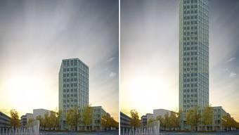 Links die Visualisierung: 13 Stöcke, 50 Meter – so hoch soll der Gastro-Social-Tower in Aarau werden. Rechts die Fotomontage: So würde das Gebäude aussehen, wenn es gut doppelt so hoch wäre.