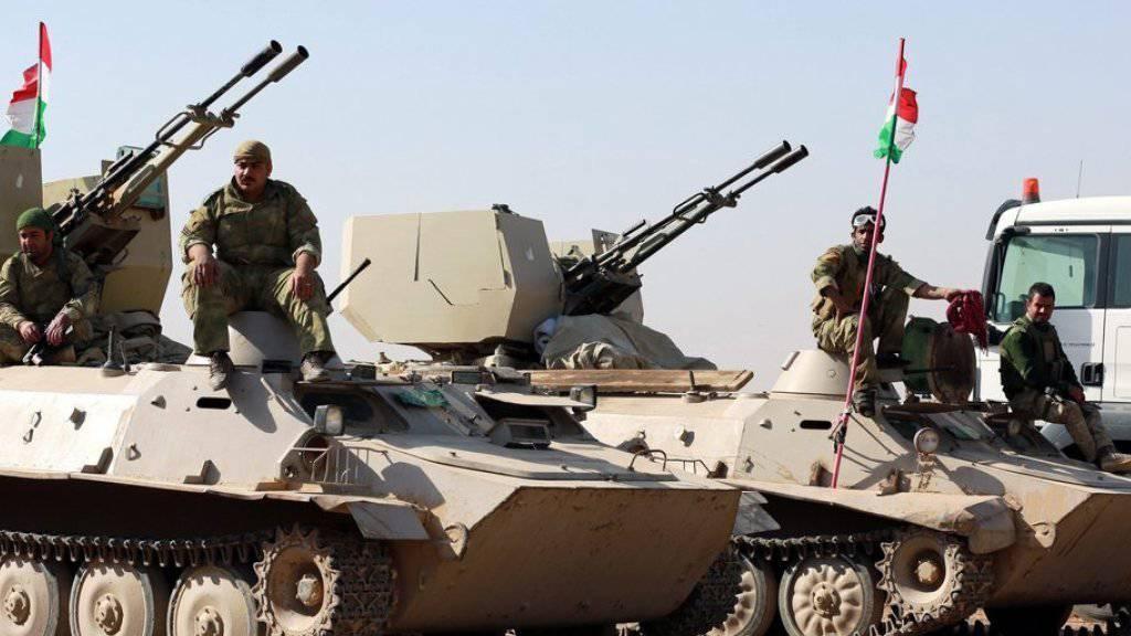 Kurdische Peschmerga-Miliz am Dienstag im Südosten von Mossul.
