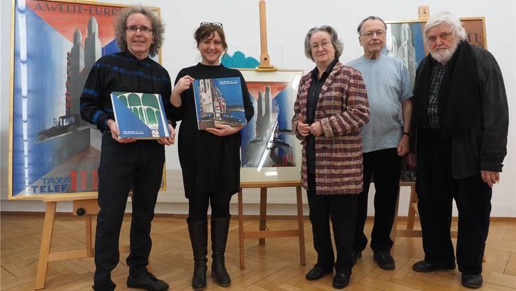 Von links Christian Pflugshaupt, Dorothee Messmer (Gastgeberin Kunstmuseum), Marie-Louise Hieronymus-Schaller, Hugo Stüdeli und Kurt Hediger Bruno Kissling