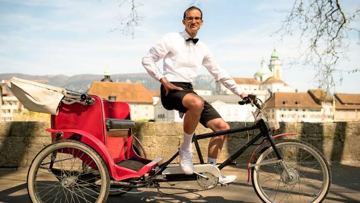 Mathias Lüscher wird mit dem Herannahen des Frühlings wieder mit seiner Rikscha anzutreffen sein.