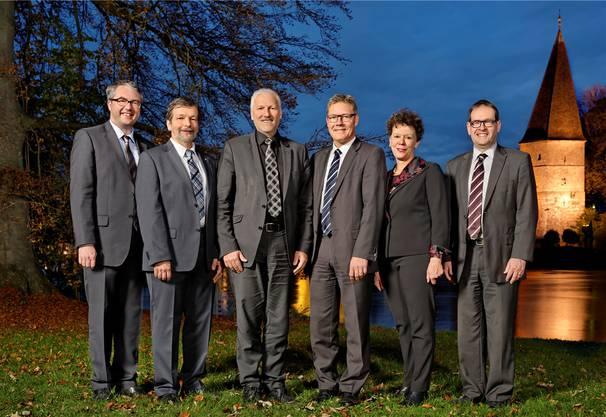 Remo Ankli, Roland Heim, Peter Gomm (Landammann 2014), Roland Fürst, Esther Gassler sowie Staatsschreiber Andreas Eng