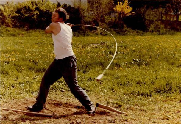 Der Glarner Andreas Marti beim Training 1975