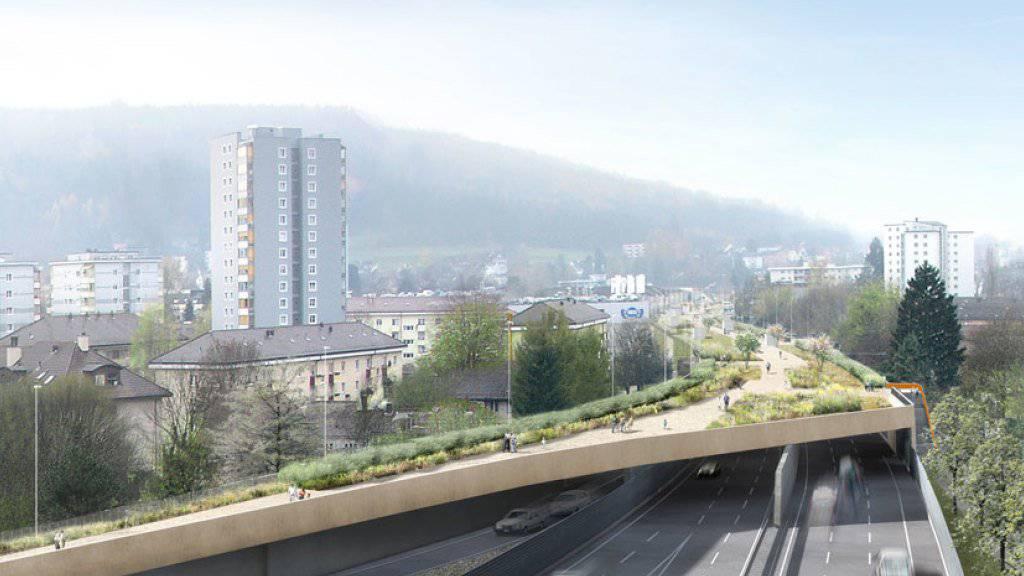 Mit der Einhausung der Nationalstrasse N01/40 entsteht in Zürich-Schwamendingen ein in der Schweiz einzigartiger, knapp ein Kilometer langer und rund 30 Meter breiter Nutzbau. (Visualisierung)
