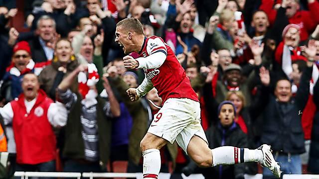 Lukas Podolski traf für Arsenal zur zwischenzeitlichen 2:1-Führung