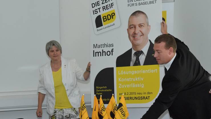 Die Baselbieter BDP stellt ihren Regierungsratskandidat Matthias Imhof für die Baselbieter Wahlen 2015 vor.