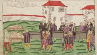Bestattung von Pesttoten auf dem Kirchhof des Grossmünsters in Zürich anno 1582.