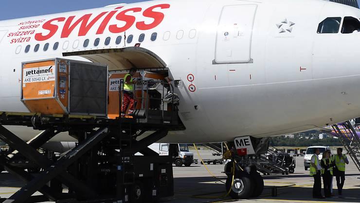 Ein Flugzeug der Fluggesellschaft Swiss auf dem Flughafen Kloten (Archivbild).