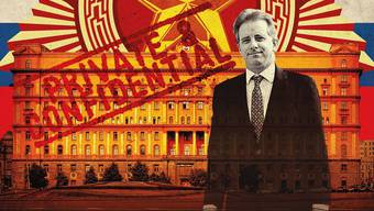 Der britische Meisterspion Christopher Steele vor dem Gebäude des russischen Geheimdienstes in Moskau.