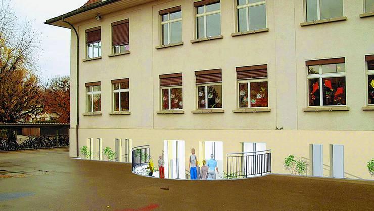 Bauliche Eingriffe  nötig: Für die Tagesschule muss das Souterrain des Schulhauses Kirchberg umgestaltet werden. Montage/ZVG