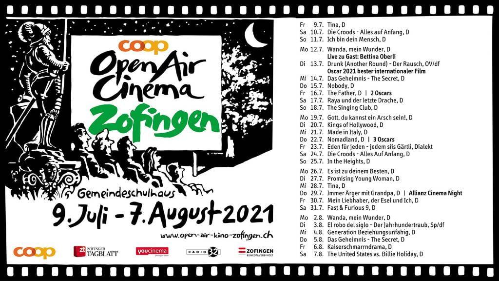 Programm Open Air Cinema Zofingen