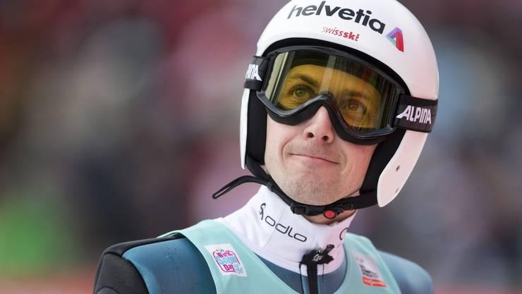 Simon Ammann beim Skispringen in Engelberg.