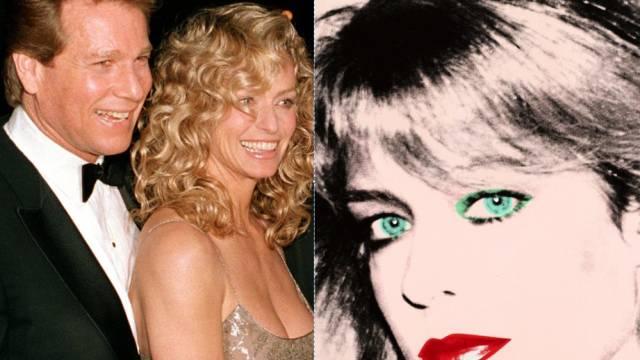 Ryan O'Neal, Farah Fawcett (t) und Warhols Bild (Archiv)