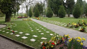 Das Urnengrabfeld auf dem Friedhof St. Katharinen in Solothurn. Dieser Friedhof ist schon seit langem parkähnlich gestaltet.