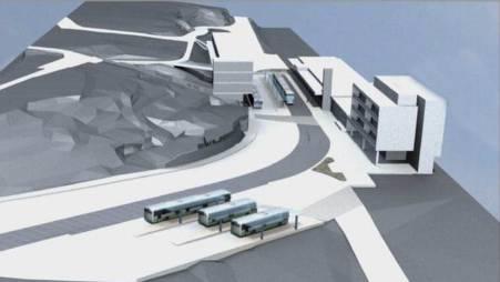 Visualisierung des künftigen Bahnhofareals Killwangen mit dem Bahnhofgebäude (r.); dem Neubau mit Lift (Mitte) – dazwischen die Haltestelle Limmattalbahn und der Busbahnhof (vorne).  ZVG