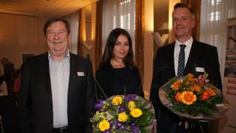 (v.l.) Präsident Arthur Haefliger; Alexandra Denise Kämpf, neues Vorstandsmitglied; Andreas Schibli, verabschiedetes Vorstandsmitglied.