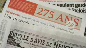 """2013 feierte die älteste französischsprachige Zeitung ihr 275-jähriges Jubiläum. Nun wird aus """"L'Express"""" und """"L'Impartial"""" die neue Zeitung """"Arcinfo"""". (Archivbild)"""