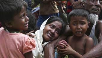 ARCHIV - Angehörige der muslimischen Minderheit der Rohingyas weinen an der Grenze zu Bangladesch bei Ghumdhum, nachdem sie gezwungen wurden, ihre Wohnungen in Bangladesch zu verlassen. Foto: Mushfiq Alam/AP/dpa