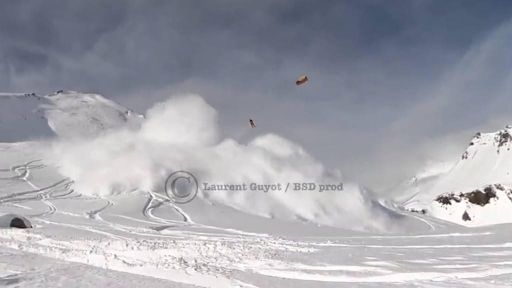 Snowkiter filmt, wie Lawine seinen Freund mitreisst