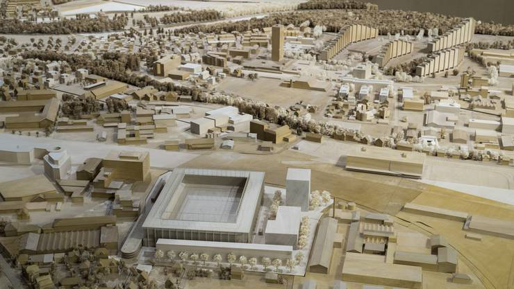 Modell des geplanten Aarauer Fussballstadions im Torfeld Süd