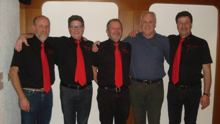Foto GV Restaurant Rebstock in Frick: v.l.n.r. Martin Hollinger, Heinz Hossli, Reinhard Hauswirth, Matthias Martin, Franz Zundel.