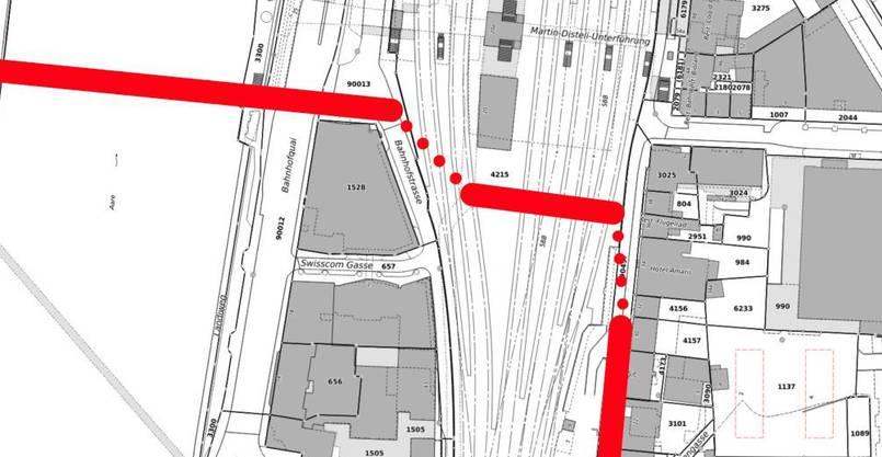 Die rot gepunktete Linie macht sichtbar, wo notwendige Bauarbeiten auszuführen wären.