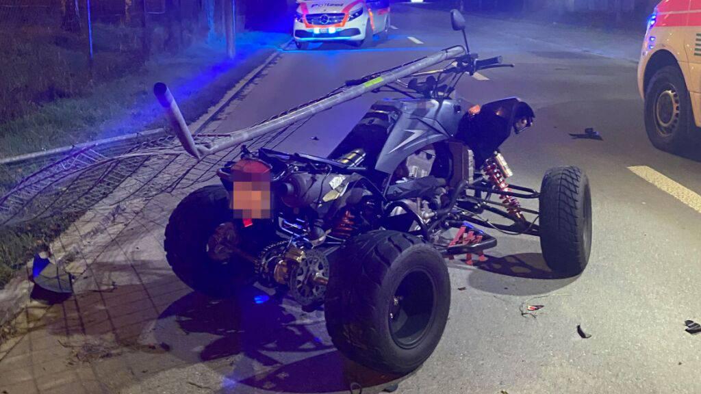 Quad-Fahrer bei Selbstunfall in Frauenfeld schwer verletzt