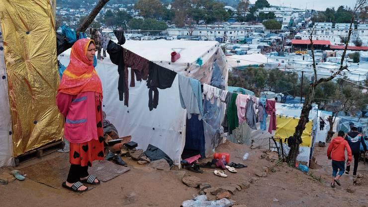 Nicht gerüstet: Das Flüchtlingslager Moria auf Lesbos.
