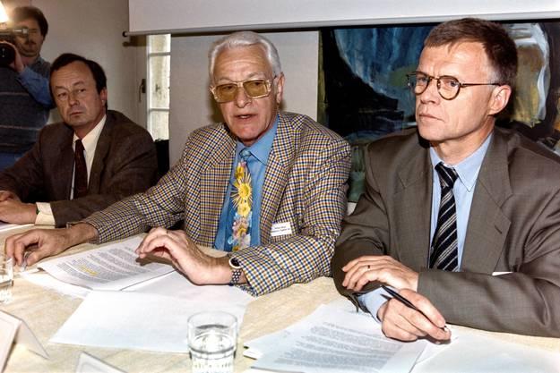 Fusion: Verleger Peter Wanner, AT-VR-Präsident Arthur Gross und der designierte Chefredaktor Franz Straub (von rechts).
