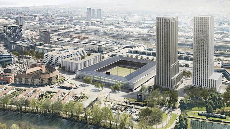 So soll das Hardturm-Areal in Zürich-West dereinst aussehen: ein Fussballstadion für 18'000 Zuschauer, 174 Genossenschaftswohnungen und zwei Wohn- und Bürotürme.