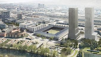 So soll das Hardturm-Areal in Zürich-West dereinst aussehen: ein Fussballstadion für 18'000 Zuschauer, 174 Genossenschaftswohnungen und zwei Wohn- und Bürotürme mit 600 Wohnungen. (ZVG)