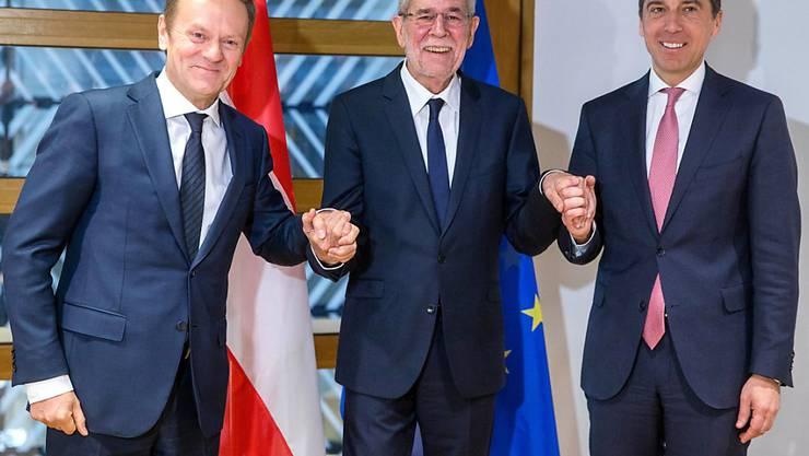 EU-Ratspräsident Donald Tusk, Österreichs Präsident Alexander Van der Bellen und der österreichische Bundeskanzler Christian Kern (von links nach rechts) in Brüssel.