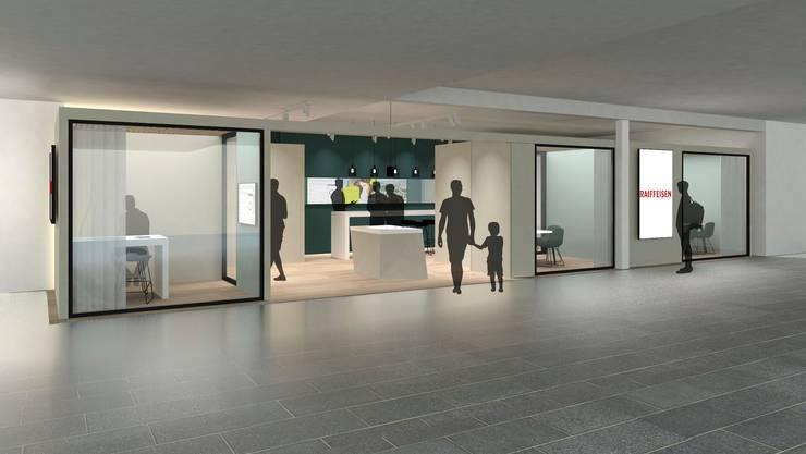 So soll die neue Raiffeisen-Geschäftsstelle im Coop-Einkaufszentrum in Stein aussehen. Eröffnet wird sie am 9. Januar.