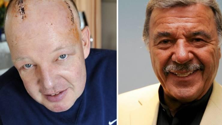 """Robert Dill-Bundi (l) 2010 nach seiner Hirnoperation und sein Wohltäter Hans """"Hausi"""" Leutenegger (Archiv)"""