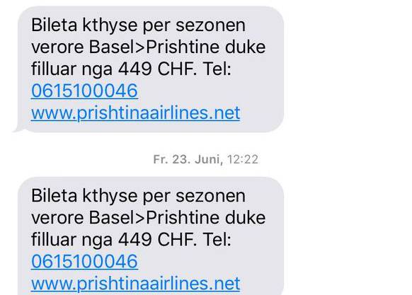 Mit solchen SMS wird für die Flüge Werbung gemacht. (Archiv)