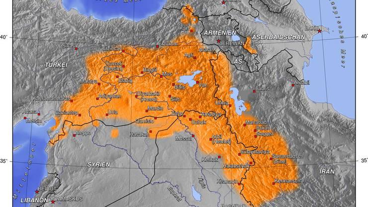 Kurdische Siedlungsgbiete: Neben den Kurden bevölkern zahlreiche andere Ethnien diese Region.