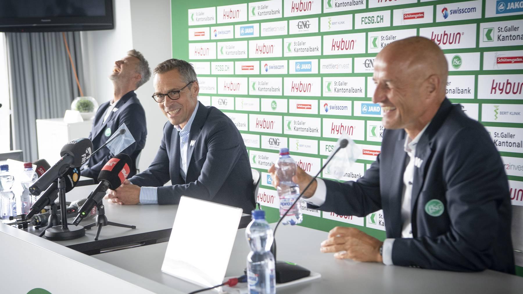 Ein eingespieltes Team: Sportchef Alain Sutter, Präsident Matthias Hüppi und Trainer Peter Zeidler.