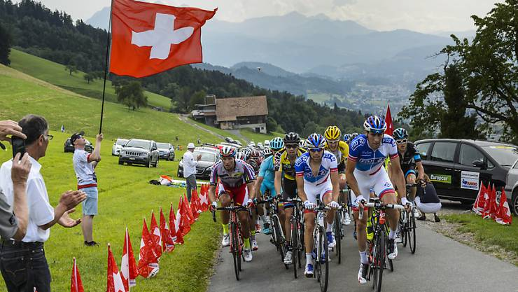 In der 5. Etappe der Tour die Suisse haben die Profis - im Bild das Feld während des zweiten Teilstücks rund um Rotkreuz - den Anstieg zum Rettenbachgletscher oberhalb von Sölden (Ö) zu bewältigen