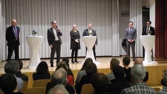 Kandidieren für den Gemeinderat: Simon Wirth (FDP), Marcel Balmer (SVP), Gisela Biesuz (SVP), Markus Nydegger (SVP), Wey Te-Glanzmann (FDP) und Urs Muntwyler (FDP).