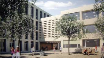 So soll das Schulhaus Zehntenhof nach Fertigstellung aussehen (Visualisierung).