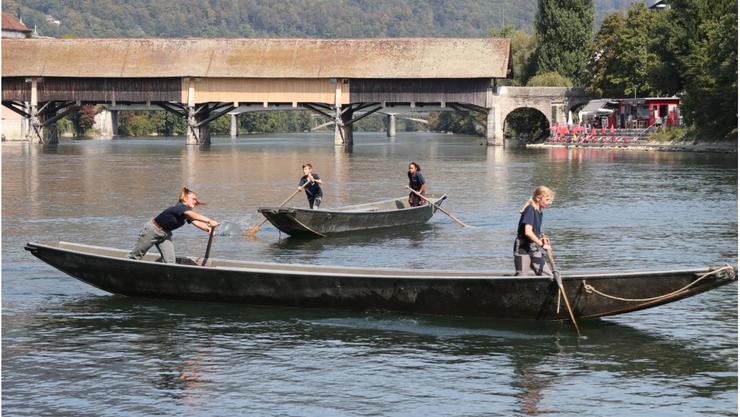 Sponsorenlauf der Pontoniere führte zu Stossverkehr auf der Aare.