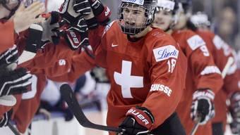 Nico Hischier, hier im Einsatz für die Schweizer U18, wird als Nummer 2 bei den nächsten NHL-Drafts gehandelt