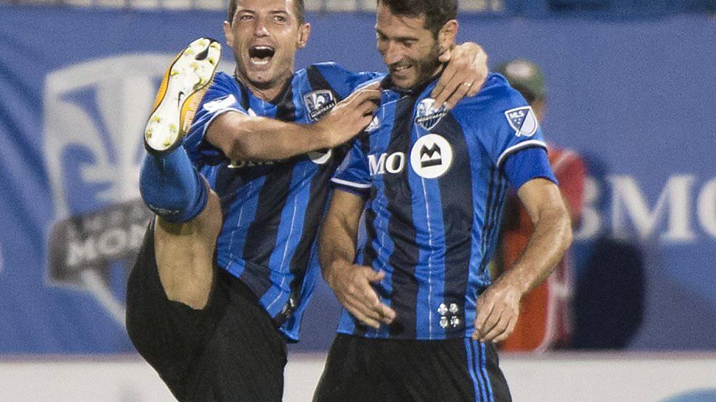 Blerim Dzemaili feiert gemeinsam mit Ignacio Piatti einen Treffer gegen Chicago Fire