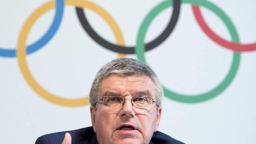 IOC-Präsident Thomas Bach spricht am Dienstag an einer Medienkonferenz in Lausanne