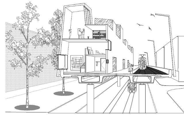 Die Studie sieht auf der Hardbrücke zwei- bis dreigeschossige Häuser und ein Tramtrasse vor.