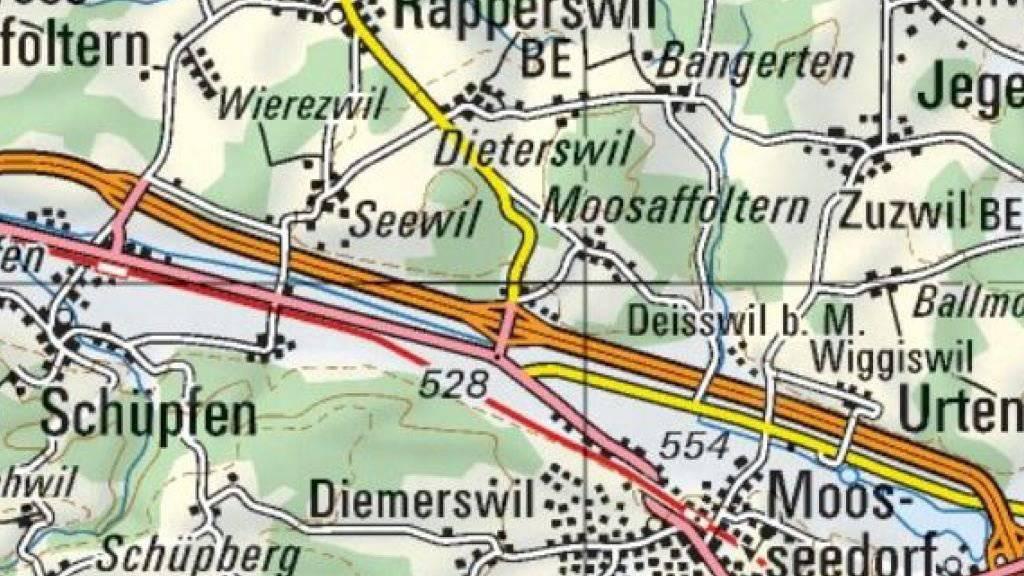 Auf der Autobahn von Biel in Richtung Bern wurde der Raser erwischt.