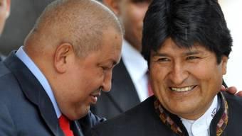 Gastgeber Hugo Chavez (l) im Gespräch mit dem bolivianischen Präsidenten Evo Morales in Caracas