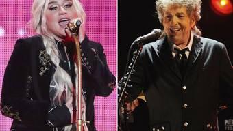 """Kesha (l), Bob Dylan (r) und vier weitere MusikerInnen haben soeben das Album """"Universal Love"""" herausgebracht mit Liebeslied-Klassikern, in denen die Geschlechterrollen variiert werden."""
